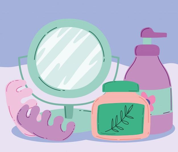 Kosmetyki do makijażu produkt moda uroda lustro pedicure separatory balsam do ciała i krem do pielęgnacji skóry ilustracja