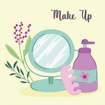 Kosmetyki do makijażu produkt moda uroda lustro pedicure separatory i dozownik krem do ciała ilustracja