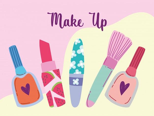 Kosmetyki do makijażu produkt moda uroda szczotka szminka lakier do paznokci i tusz do rzęs ilustracja