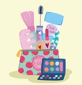 Kosmetyki do makijażu produkt moda uroda torba do manicure i pedicure balsam do ciała paleta cieni do powiek i ilustracja tuszu do rzęs