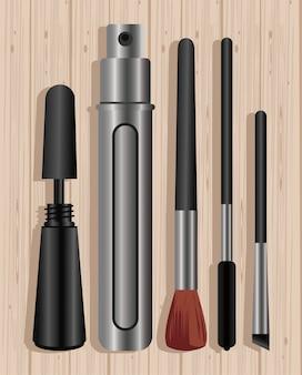 Kosmetyki do makijażu w drewnianym stole
