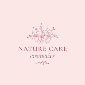 Kosmetyki do pielęgnacji przyrody streszczenie wektor znak, symbol lub szablon logo.