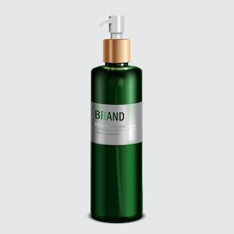 Kosmetyki lub produkty do pielęgnacji skóry. makieta zielonej butelki i na białym tle. ilustracja.