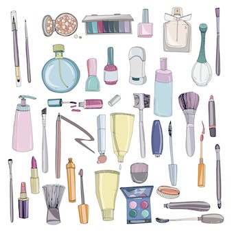 Kosmetyki modne z obiektami makijażu. kolorowa ręka rysująca ilustracyjna kolekcja.