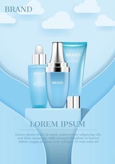Kosmetyki na stojaku z reklamą nieba