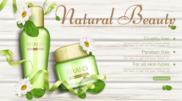 Kosmetyki naturalne butelki i kremowy słoik z szablonu banner rumianku i zielonych liści. ekologiczny kosmetyk bez parabenów i okrucieństwa dla wszystkich rodzajów skóry