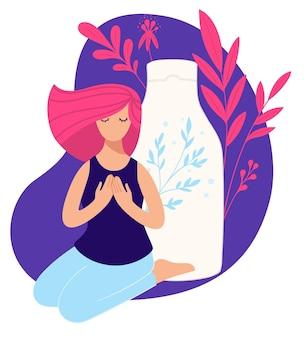 Kosmetyki naturalne i organiczne do pielęgnacji włosów. butelka lub szampon z naturalnymi składnikami i zdrowymi składnikami. zadowolona klientka z chłodną fryzurą z odżywką. wektor w stylu płaskiej
