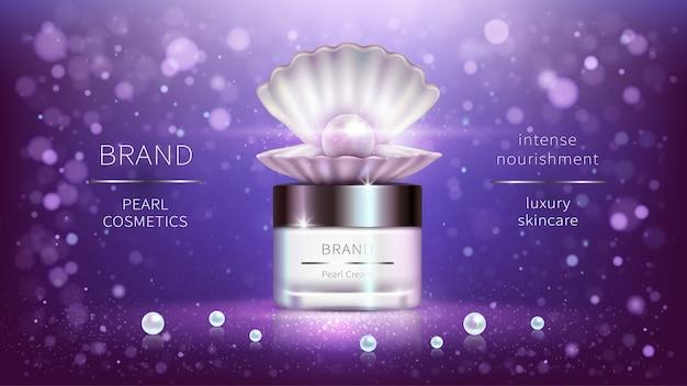 Kosmetyki perłowe, realistyczny plakat reklamowy wektor