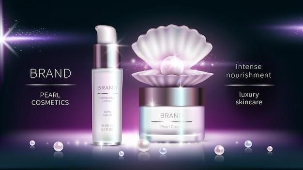 Kosmetyki perłowe, realistyczny plakat reklamowy.