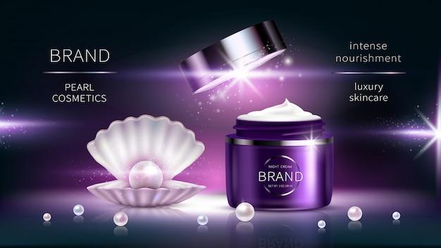 Kosmetyki perłowe, wektor realistyczny plakat reklamowy