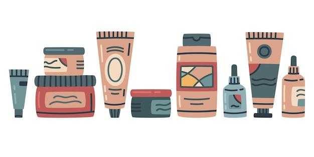 Kosmetyki produkty do pielęgnacji skóry krem balsam peeling żel do mycia emulsja wektor zestaw ilustracji