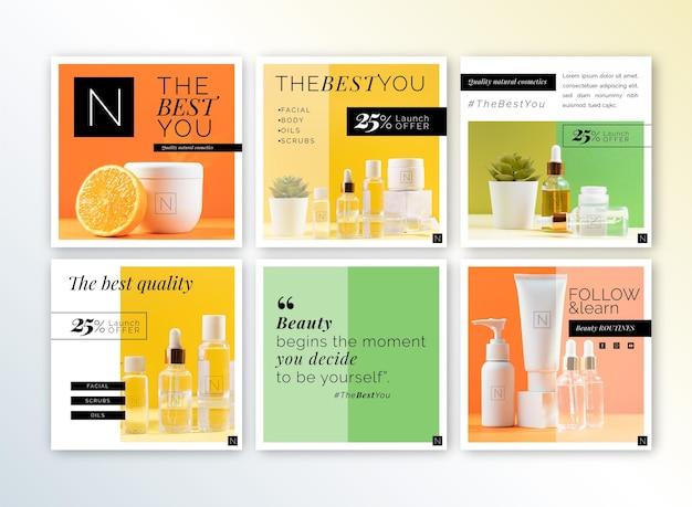 Kosmetyki sklep szablon postów na instagramie
