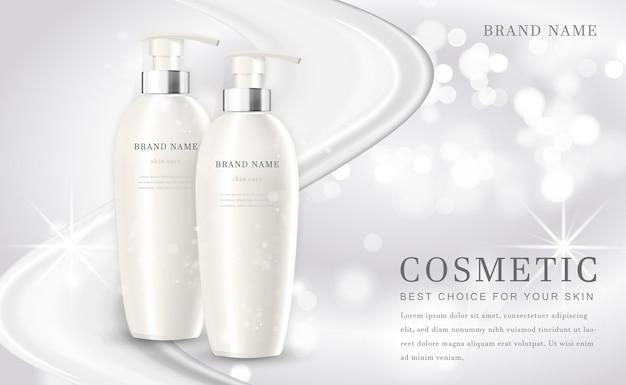 Kosmetyki tworzą ilustrację butelki produktu z eleganckim białym błyszczącym tłem