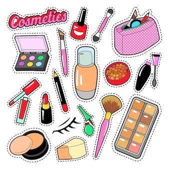 Kosmetyki uroda moda elementy makijaż szminka i tusz do rzęs na naklejki, odznaki, naszywki. doodle wektor