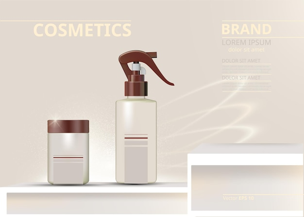 Kosmetyki w sprayu ustawione realistycznie