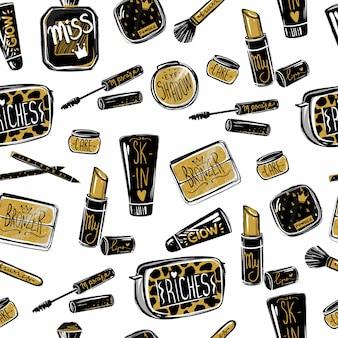 Kosmetyki wektorowe powtórzyć wzór. śliczny projekt mody.