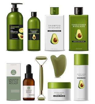 Kosmetyki z olejkiem z awokado i zestaw do masażu urody wektor realistyczny projekt etykiety makieta