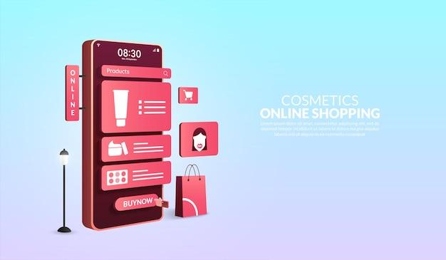 Kosmetyki zakupy online na koncepcji aplikacji mobilnej smartfon 3d z torbą na zakupy i ikonami