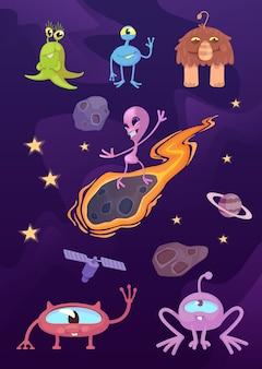 Kosmici, fantastyczne stworzenia z kreskówkowymi ilustracjami. pozaziemskie, mityczne zwierzęta w kosmosie. gotowe do użycia szablony komiksowe do celów reklamowych, animacji, drukowania