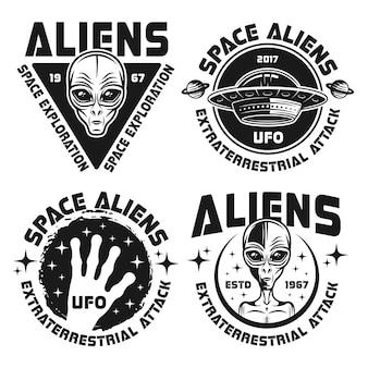 Kosmici i ufo zestaw czarnych emblematów