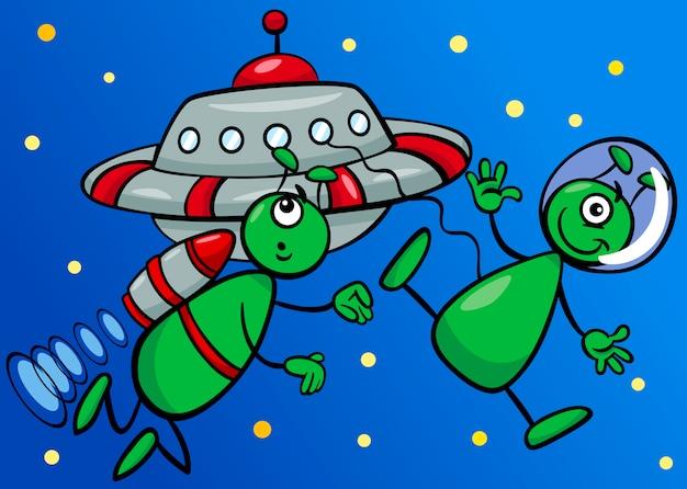 Kosmici w przestrzeni ilustracja kreskówka