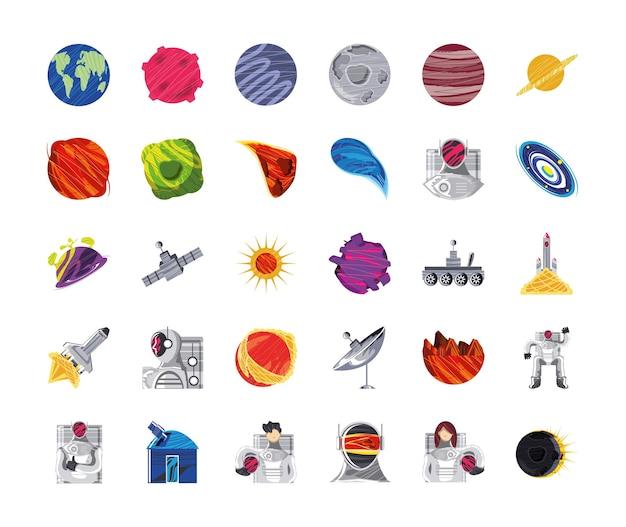 Kosmiczna galaktyka kosmos ikony planety księżyc astronauta statek kosmiczny antena satelitarna teleskop ilustracja
