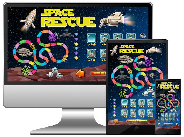 Kosmiczna gra na ekranie komputera