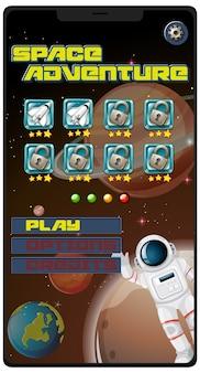 Kosmiczna gra przygodowa na ekranie tabletu