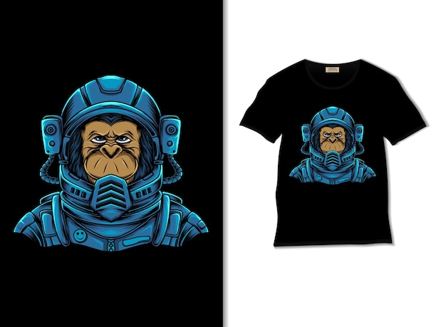 Kosmiczna ilustracja szympansa z projektem koszulki