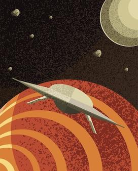 Kosmiczna planeta ufo i mars kosmosu wszechświata i futurystyczny motyw