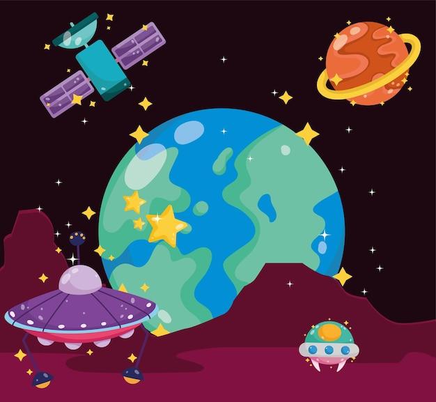 Kosmiczna planeta ziemia ufo satelita mars eksploracja powierzchni kreskówka ilustracja