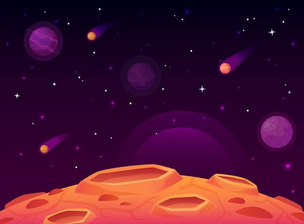 Kosmiczna powierzchnia asteroidy. planeta z powierzchni kraterów, krajobraz planet kosmicznych i ilustracja kreskówka krater komety