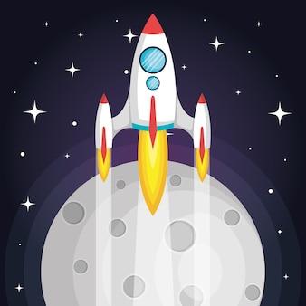 Kosmiczna rakieta latająca w kosmosie z księżycem i gwiazdami