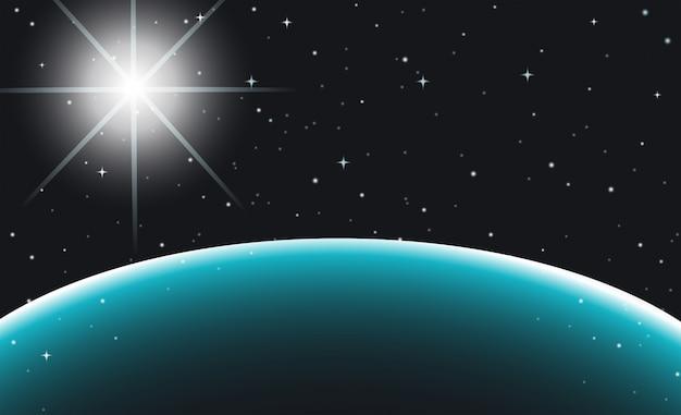 Kosmiczna scena z planetą i gwiazdami