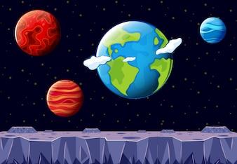 Kosmiczna scena z Ziemią i inną planetą