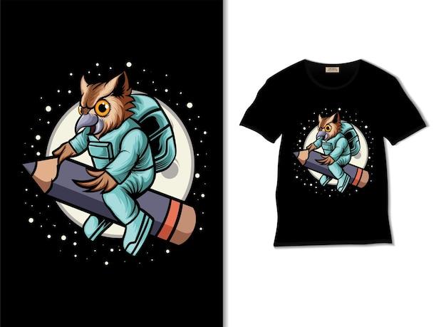 Kosmiczna sowa prowadzi ilustrację ołówkową z projektem koszulki