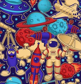 Kosmiczne bezszwowe tło w stylu kreskówki, idealne do tapet