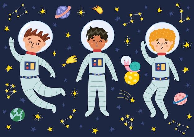 Kosmiczne dzieci w garniturach i hełmach ilustracji