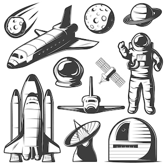 Kosmiczne elementy monochromatyczne z wahadłowcami astronautów i rakietami, obserwatorium obiektów kosmicznych i radarem na białym tle