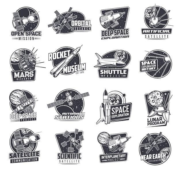 Kosmiczne ikony ze statkami kosmicznymi lub satelitami