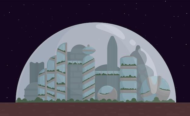 Kosmiczne miasto, kolonia na marsie lub księżycu