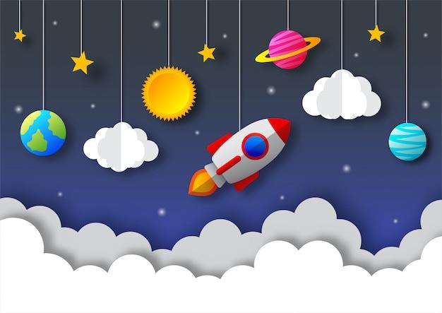 Kosmiczne nocne niebo. księżyc, gwiazdy, rakieta i chmury o północy. styl sztuki papierowej.