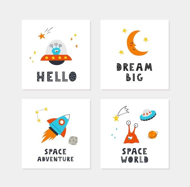 Kosmiczne plakaty z ręcznie rysowanymi uroczymi kosmitami, planetami, gwiazdami, księżycem, ufo i napisami. wektor wzór do pokoju dziecka, kartki z życzeniami, koszulki.