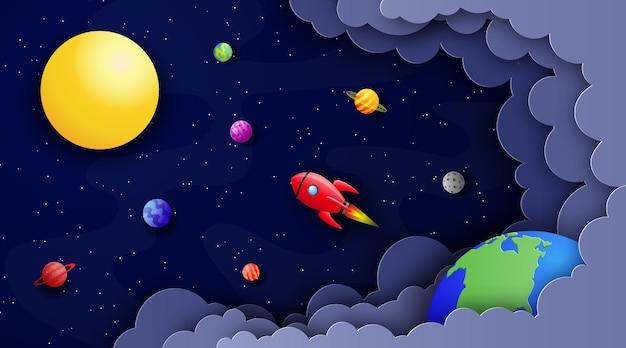 Kosmiczne tło w stylu cięcia papieru rakieta leci w kosmosie wśród gwiazd i planet do słońca