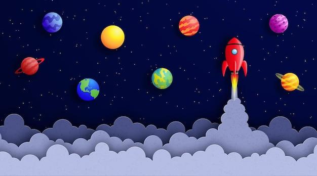 Kosmiczne tło w stylu cięcia papieru statek kosmiczny leci w kosmosie wśród gwiazd i planet