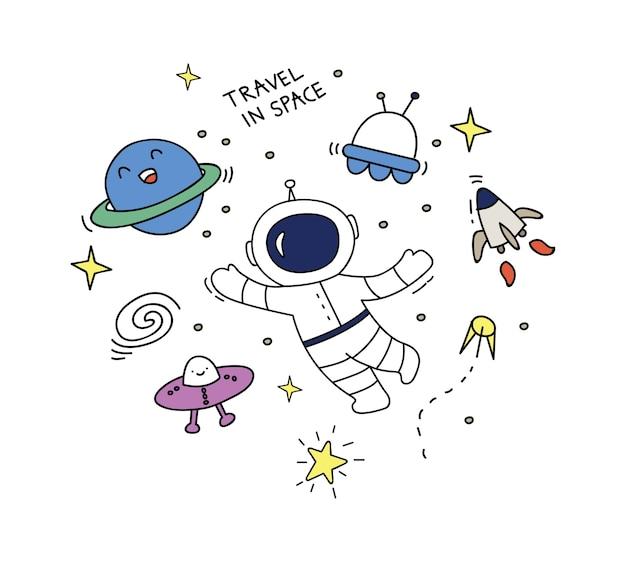 Kosmicznej doodle ustalona wektorowa ilustracja