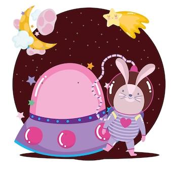 Kosmiczny astronauta królik przygoda ze statkiem kosmicznym eksploruj ilustrację kreskówki zwierząt