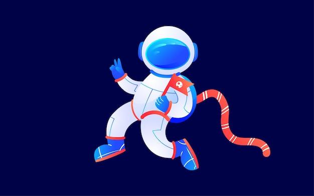 Kosmiczny astronauta science fiction przyszłość ilustracja noc planeta technologia plakat