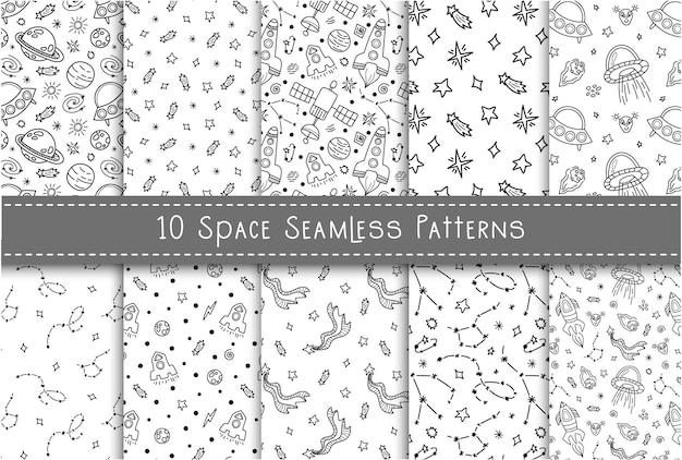 Kosmiczny czarno-biały doodle zestaw bez szwu wzór - ręcznie rysowane cyfrowy papier z kosmosem, gwiazdami, statkiem kosmicznym, rakietą, ufo, niebiańskie dzieci bezszwowe tło dla tekstyliów, scrapbookingu, papieru do pakowania