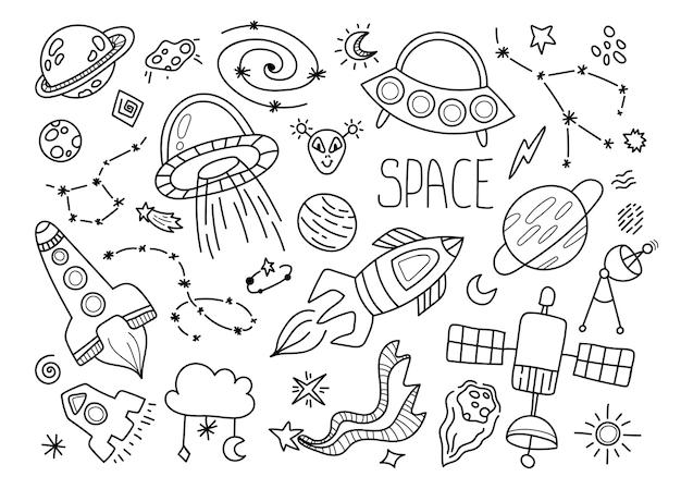 Kosmiczny czarno-biały zestaw doodle - ręcznie rysowane linie na białym tle elementy z przestrzenią, gwiazdami, galaktyką, konstelacją, ufo, planetą.